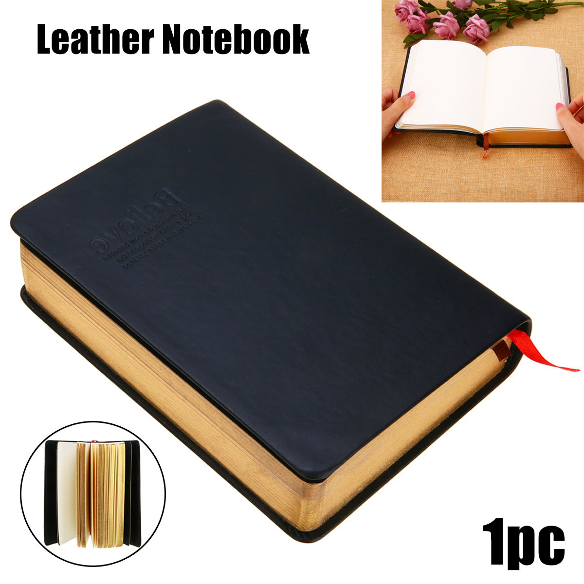 1pcs Vintage Thick Paper Notebook Journal Bible Diary Book Sketchbook Leather Cover School Office Stationery Supplies ruize vintage diary thick notebook bible book leather agenda gold edge blank paper note book office school supplies stationery