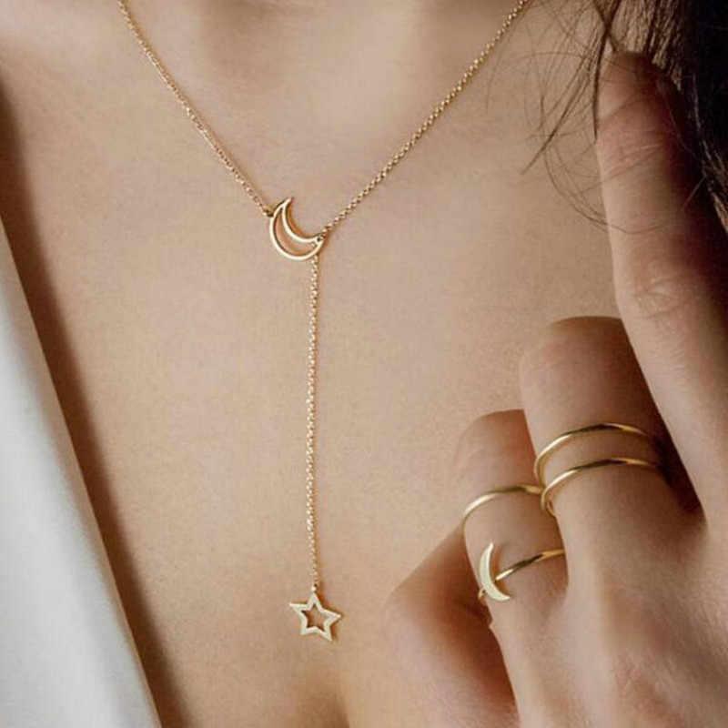 Mode coréenne bijoux lune étoile clavicule chaîne femme collier court bijoux accessoires gros colliers et pendentifs