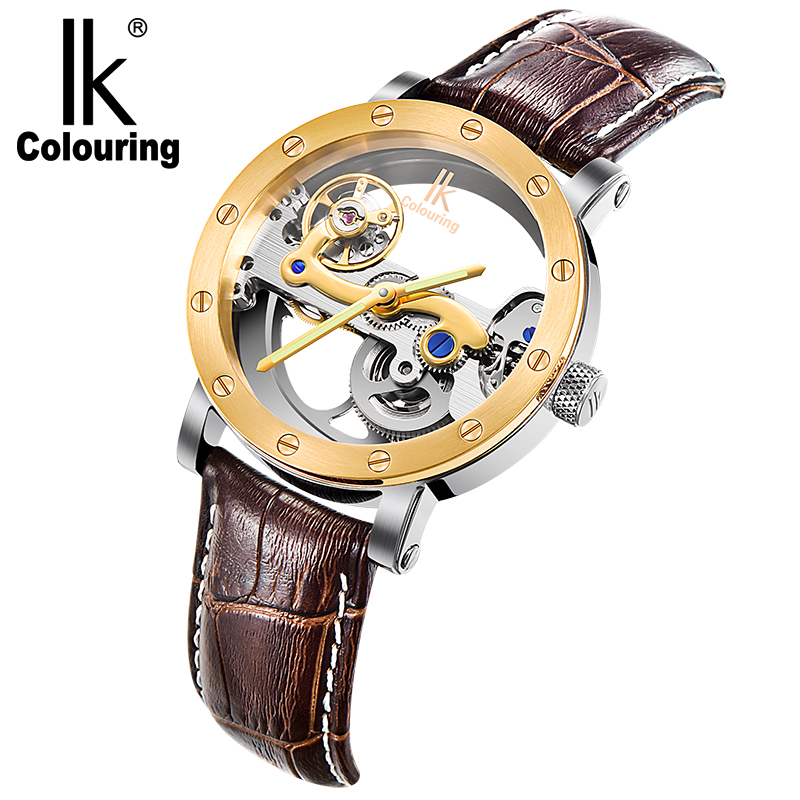 IK colouring automatic mechanical watch double-sided hollow steel tide male table 50 meters waterproof men's watches ik colouring automatic double sided hollow casual men s skeleton dial horloge auto mechanical wristwatch original box watch
