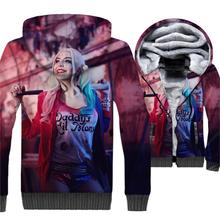 Batman Harley Quinn jackets men plus tracksuit thick zip wool liner warm coats clown girl funny 3D prints hoody 2018 new arrival
