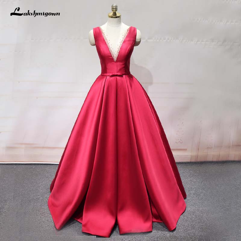 Stunning Beaded Long Evening Dresses Elegant Red Backless Satin ...