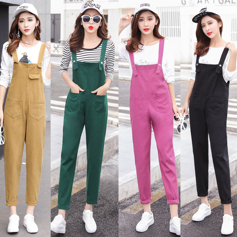 Rompers #0338 Summer2018 Solid Color Hole Candy Color Adjustable Wide Leg Playsuit Women Combinaison Femme Vintage Ripped Denim Overalls