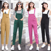 Summer Fashion Green Denim Overalls Women Korean Vintage Candy Color Jean Jumpsuit Cute Brief Solid Plus