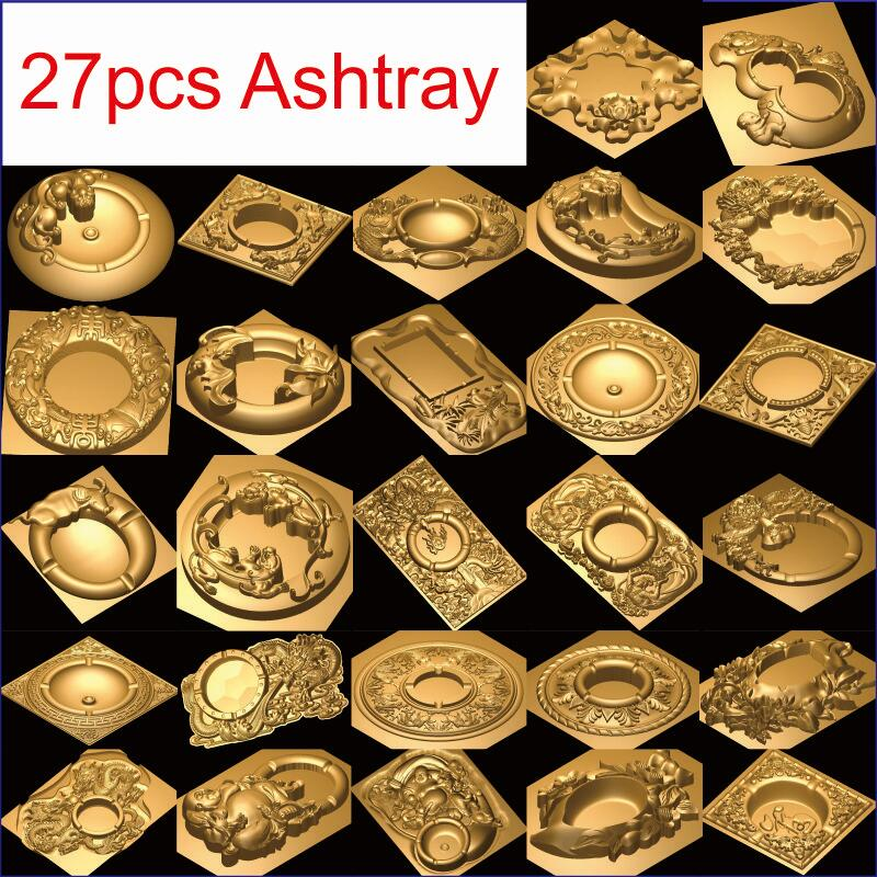 27 PCS Ashtray 3d model STL relief for cnc STL format 3d model for cnc stl relief artcam vectric aspire ashtray