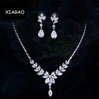 XIAGAO Neue Mode AAA + CZ Braut Eiszapfen Blume Halskette und Ohrringe Zirkonia Hochzeit Schmuck-Sets Für Bräute