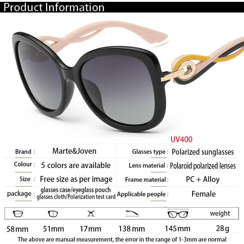 3a64ef3196  Marte Joven  2017 Personalized Twisted Temple Polarized Sun Glasses for  Women Brand Anti Glare Gradient Lens Shade Eyeglasses-in Sunglasses from  Apparel ...