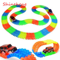 Shineheng Magic Tracks Bend Flex Glow In The Dark Assembly Toy 165 220pcs Race Track 1pc