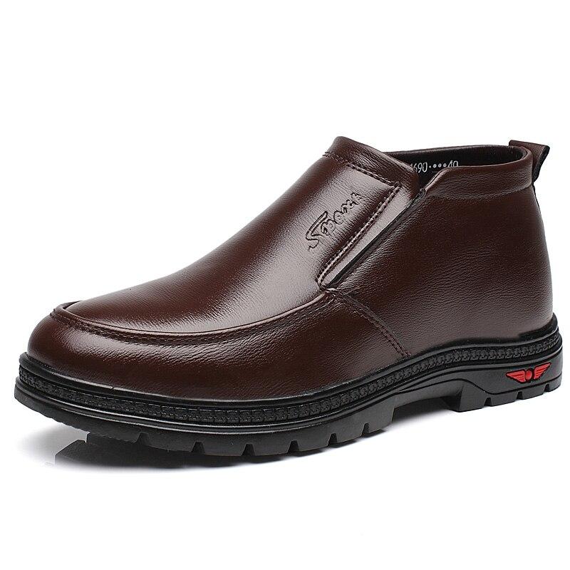 2018 Neue Mann Mikrofaser Leder Stiefel Winter Leder Schnee Schuhe Wolle Innen Anti Slip Klasse Ankle Stiefel 38-44 Mann Schnee Stiefel Kunden Zuerst