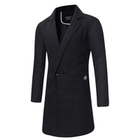 Fall Winter Pure Color Men's Long Coats Large Size S M XL 2XL 3XL 4XL 5XL Navy Blue Black Green Fashion Business Slim Man Trench