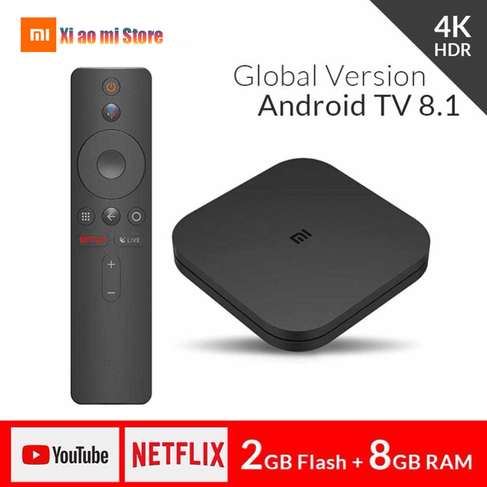Xiaomi mi caixa de tv s versão global 4 k hdr android caixa de tv hd 2g 8g wi fi mi caixa google elenco netflix conjunto topo media player 1000mbp