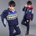 New 2016 Winter Children Boys Clothing Set Fashion Casual Kids Cotton Jacket+Hoodies+Pants 3 Pieces Suit Kids Sports Tracksuits