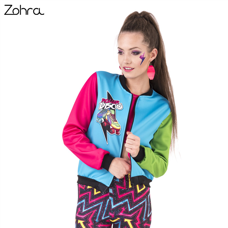 Zohra New Spring Women Bomber   Jacket   Roller Disco Printing Stitching Casaco Feminino Fashion Sexy   Basic     Jacket   for Woman