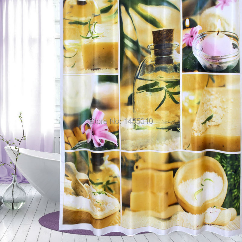 עץ שמח פוליאסטר פרח נרות רילקס וילונות מקלחת וילון עבה בד וילון חדר אמבטיה וילון אמבטיה.