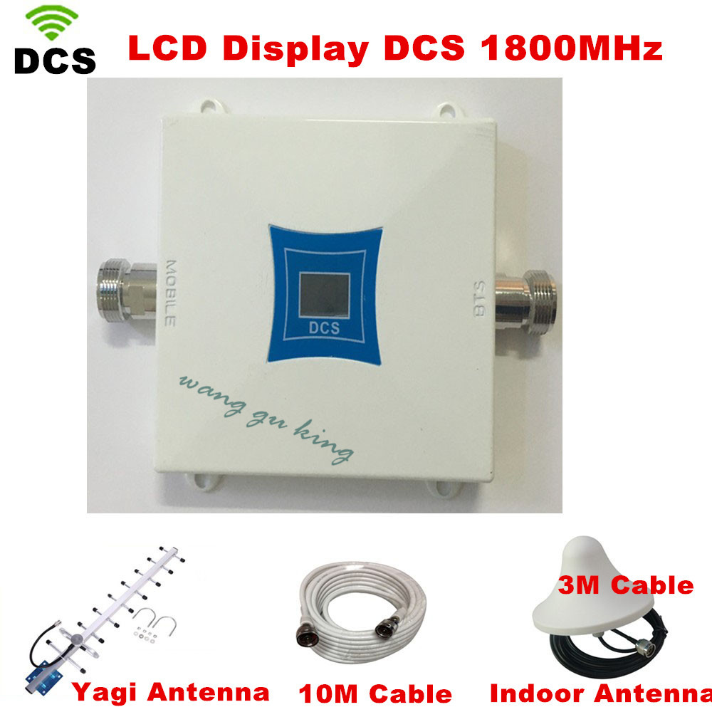 13db Yagi + Ceiling Antenna! Mini DCS 1800MHZ Mobile Signal Repeater , 4G LTE Cell Phone Signal Booster Amplifiers With LCD