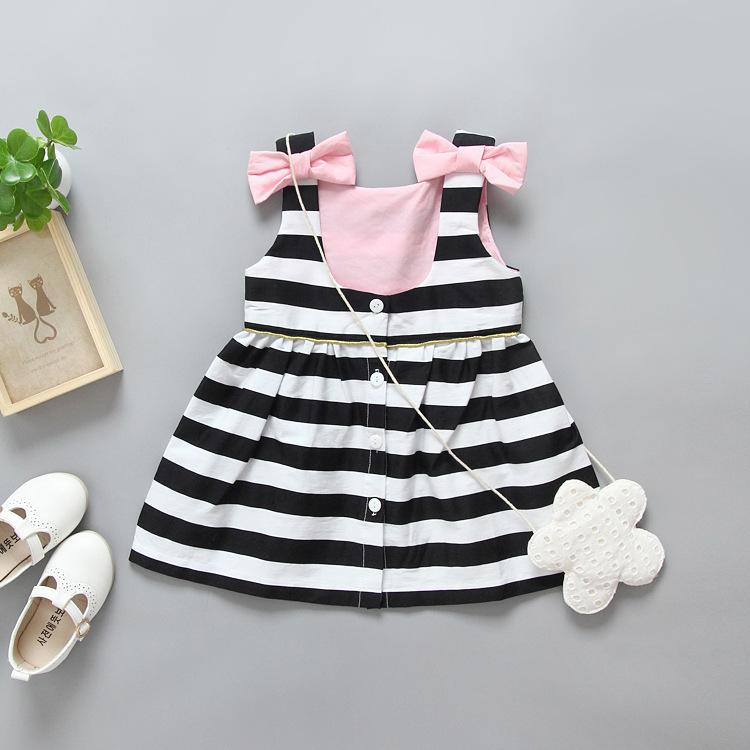 HTB1cFCoQpXXXXaVXXXXq6xXFXXXV - Baby Girls Dress Summer 2017 Stripe Dress Baby Dressing for Party Holiday Black and White with Bow Kids Clothes Girls Cute Brand