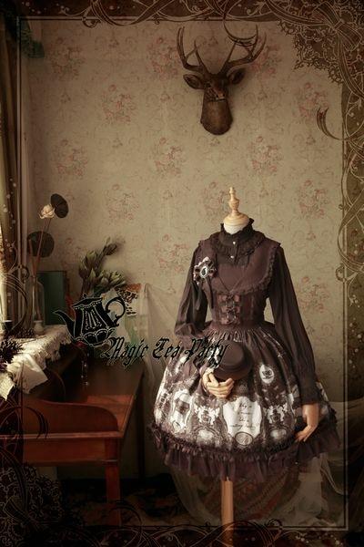 Магия Чай партия сладкий Ворон и письменный стол с ретро Лолита АО Платья для женщин Обувь для девочек платье без рукавов