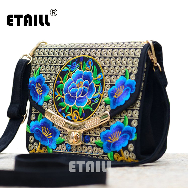 Lady Vintage Embroidered Shoulder Bags Women's Handmade Boho Hobo Hmong Ethnic Cute Flowers Embroidery Women Small Shoppers Bags chinese hmong boho indian thai embroidery brand logo backpack handmade embroidered canvas ethnic travel rucksack sac a dos femme
