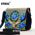 Lady Vintage Embroidered Shoulder Bags Women's Handmade Boho Hobo Hmong Ethnic Cute Flowers Embroidery Women Small Shoppers Bags