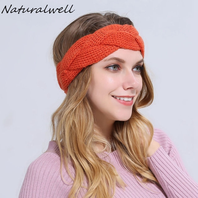 Naturalwell Crochet Pattern Headband Women Turban Cross Cable
