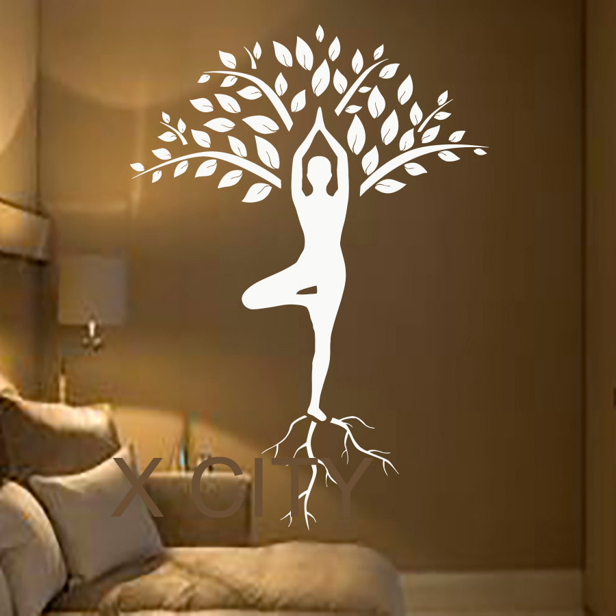 tree wall decals art gymnast decal yoga meditation vinyl stickers gym home decor interior design. Black Bedroom Furniture Sets. Home Design Ideas