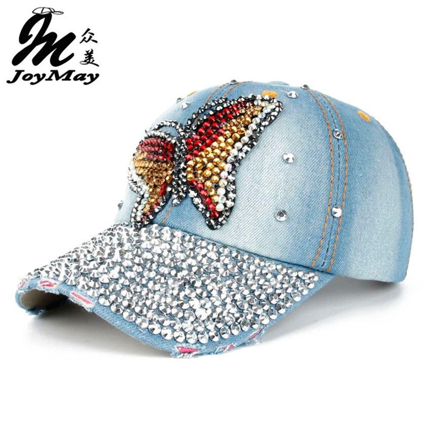 Prix pour Joymay 2015 Nouveau Design De Mode Bling Chapeau et Chapeau Coloré Papillon Denim Jean Baseball Cap Pour Lady Complet Strass Sur visière B220