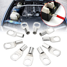 For Car Motorcycles 10pcs Crimp/Solder Battery Lug Terminal Auto Tin Plated Copper Terminals 16mm Cable With 10mm Bolt Hole