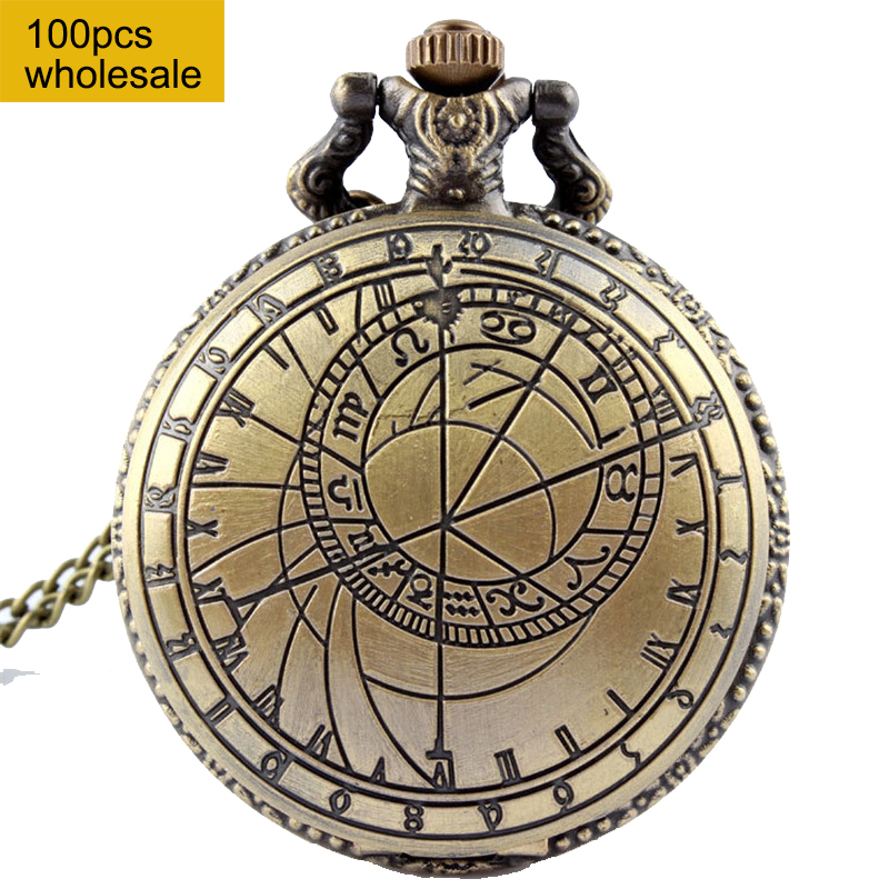 Rétro Bronze montre de poche hommes docteur qui conçoivent dames hommes accessoire collier chaîne pendentif Quartz montre de poche 100 pièces vente en gros