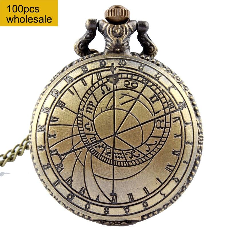 Retro Bronze Pocket Watch Men Doctor Who Design Ladies Men Accessory Necklace Chain Pendant Quartz Pocket Watch 100PCS wholesale