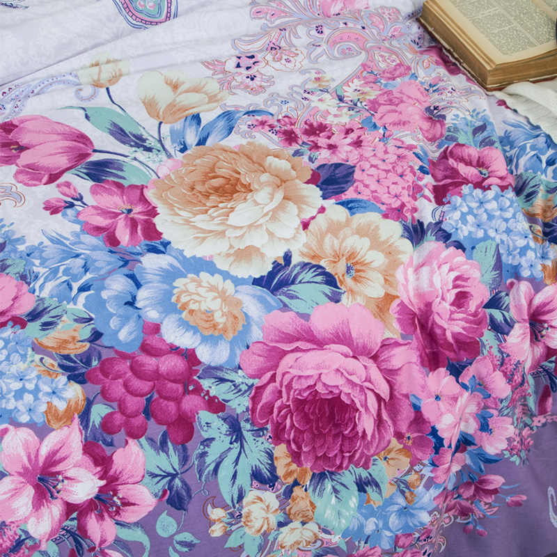 Butterfly Love Flowers Print Bedspread 100% Cotton Bed Skirt Bed Flat Fitted Sheet Bedding Printed Bed Sets Full Queen King Size