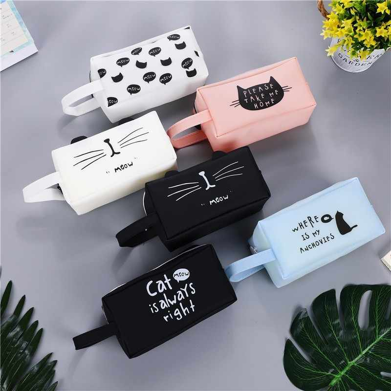 Large Capacity Kawaii School Pencil Cases Bags Creative Cute Cat Pen Box Pouch Case Office School Stationary Supplies 04892