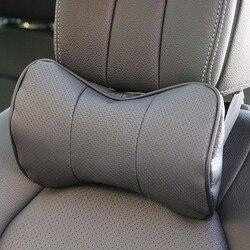 1 шт. верхний слой кожаный Автомобильный подголовник поддержка шеи/Авто сиденье безопасности подушка из воловьей кожи/O SHI Автомобильная под...