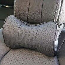 Reposacabezas de cuero para coche, almohada de seguridad de asiento de cuero de vaca, protección de almohada de coche, columna cervical, 1 ud.