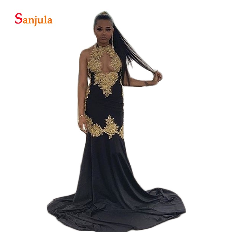 Black Spandex   Prom     Dresses   Long Halter Sheath See Though Front Sexy   Prom   Gowns with Gold Appliques Girls Graduation   Dress   D992