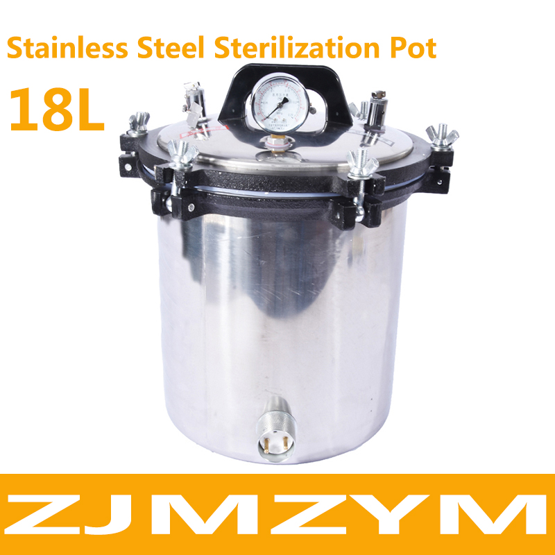 18L Portable Stainless Steel Pot Sterilization Autoclave, High Temperature Pressure Steam Sterilizer Pots Surgical Medical Tools