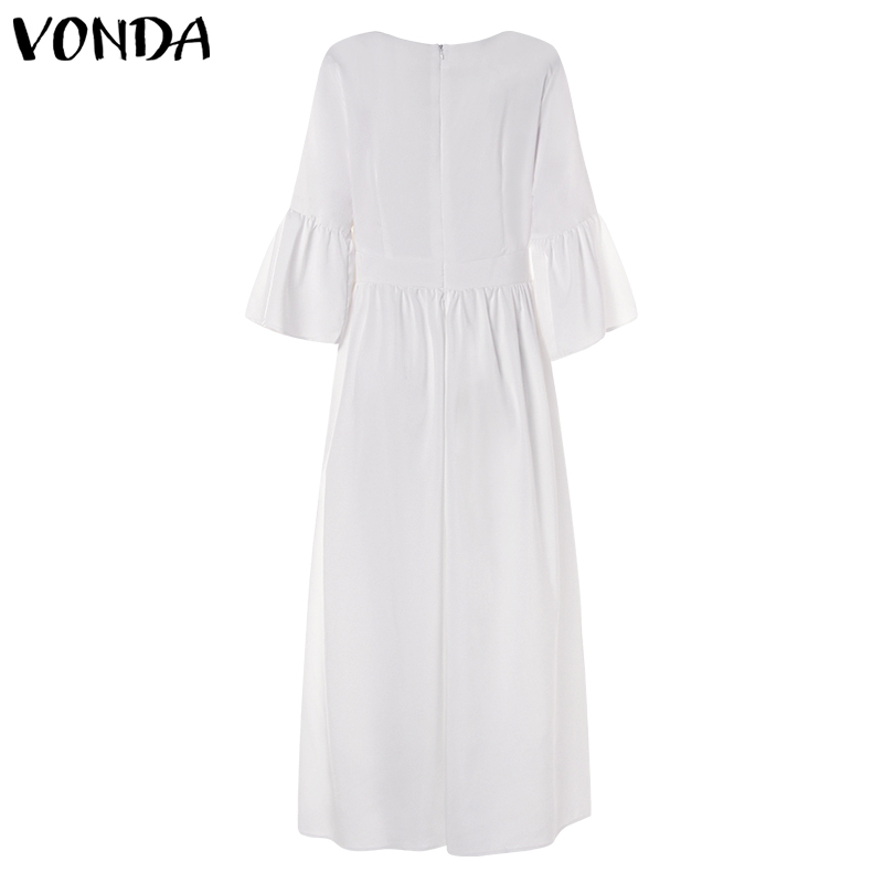Bohemian Women Vintage Print Dress 19 VONDA Sexy V Neck Ruffle Sleeve Split Maxi Long Dresses Plus Size Casual Loose Vestidos 15