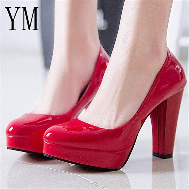 Sıcak Kadın Pompaları Ayakkabı Kadın PU Deri Sığ Slip-On Yuvarlak Ayak Yüksek topuklu Düğün Parti Elbise ayakkabı Mujer artı boyutu 34-42 Yeni