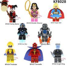 KF8028 Super Heroes építőelemek Knight King Trickster Tornoda Wonder Woman MK1 Iron Man Tégla Akció gyerekeknek Játékok Ajándék