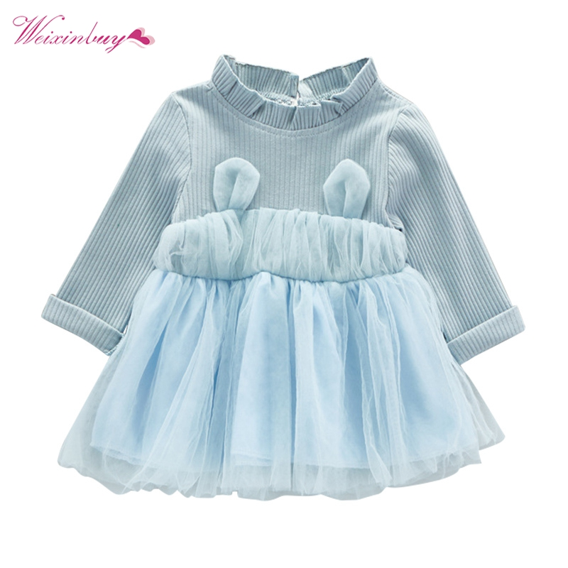 Baby Girls Dress Fashion Mesh Spring Autumn Dresses Baby Long Sleeve Infant Children Clothes Cute w l monsoon baby girls autumn dress long
