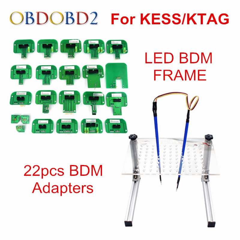 Best LED BDM FRAME Full Set & 22pcs BDM Adapters Used For Auto ECU Chip Tuning Tool KTAG K-TAG KESS Fg Tech V54 BDM100 Free Ship best quality led bdm frame with 4 probe pens full set 22pcs bdm adapters fit for ktag kess fgtech bdm100 ecu chip proframmer