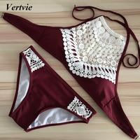 Vertvie Women Sexy Harness Halter Split Bikinis Swimwear Wine Red Black Tassel Pattern Patchwork Push Up