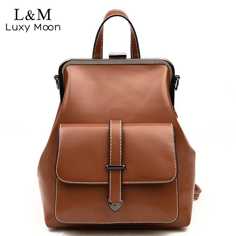 Vintage PU Leather Backpack Women 2018 Fashion Solid School Bag For Teenage Girls Female Travel Backpacks Shoulder Bags XA524H fashion gold leather backpack women black vintage large bag for female teenage girls school bag solid backpacks mochila xa56h