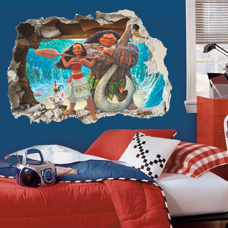 3d effect Moana through wall stickers for kids room cartoon movie vaiana wall decals pvc Moana Maui poster diy wall paper