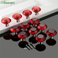 bowarepro Red Diamond Crystal Glass handles furniture hardware kitchen glass handles door accessories 40mm 12pcs+36Pcs Screws