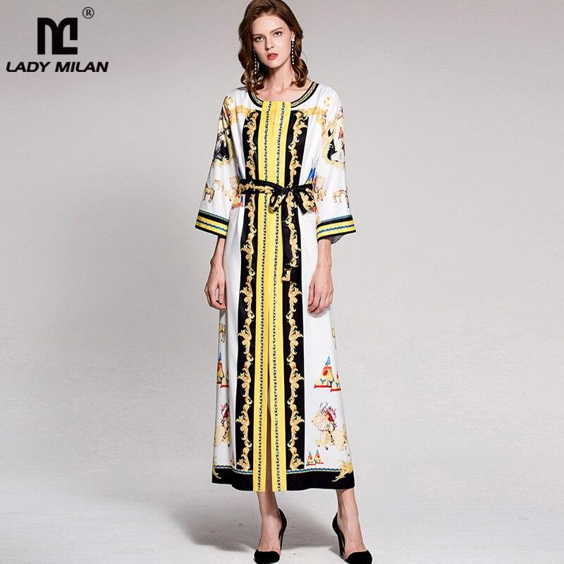 New Arrival 2018 Womens O Neck Long Sleeves Vintage Printed Loose Designer Beaded Sash Belt Fashion Pajamas Dresses