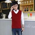 Os novos 2016 homens cor pura moda negócio v-neck knitting sweater Vest/Homens boutique qualidade magro camisola recreativo colete