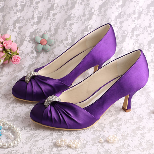 Wedopus Medium Heel Women Dressy Shoes for Wedding Small Size Satin Ladies Bridal Pumps