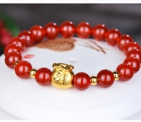 999 New Pure 24K Yellow Gold Bracelet 3D Bless FU Bag & 3mm Lucky Beads Red Agate Beads Chain