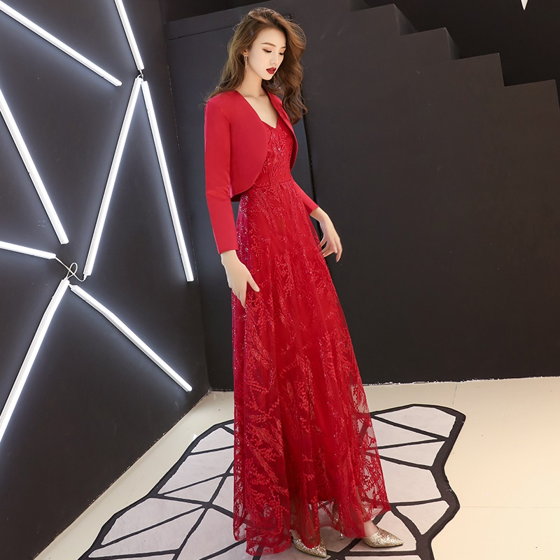 Red Long Elegant Chinese Dresses Strapless With Cape Traditional Chinese Wedding Gown 2019 Female Modern Chinese Dress FF1741