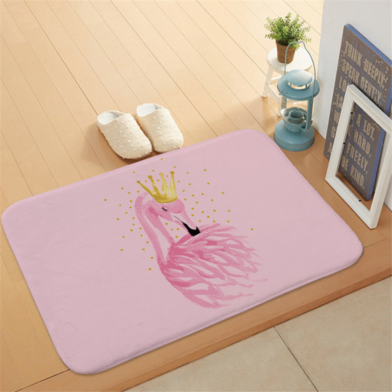 1pc Flamingo HD Printed Non-Slip Bath Mat Absorbent Waterproof Home Decor Flamingo Doormat Flamingo Party Supplies Wedding GiftS 2