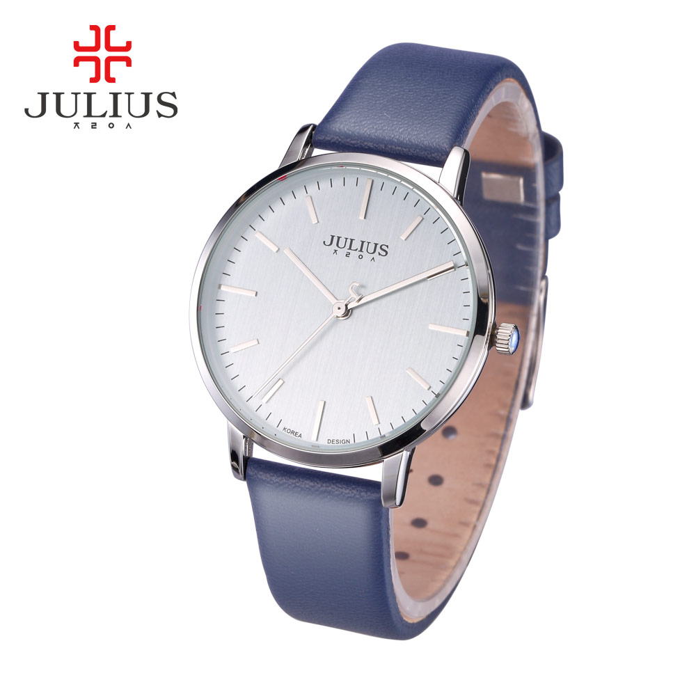 Elegant Simple Thin Lady Women's Watch Japan Quartz Fashion Fine Hours Dress Leather Bracelet Girl Birthday Gift Julius Box